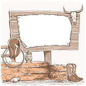 Cowboy background with wood board for text. American ranch.