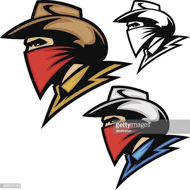 cowboy bandit outlaw - cowboy hat stock illustrations, clip art, cartoons, & icons