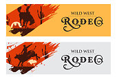 Cowboy banners, Rodeo cowboy riding bull and horse, Vector Illustration