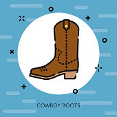 Cowboy Boot Open Outline USA Icon
