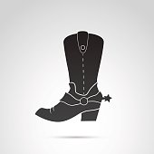 Cowboy boots icon isolated on white background.