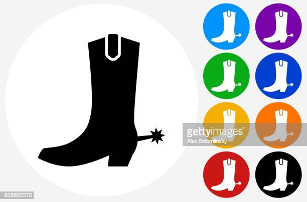 cowboy boots icon on flat color circle buttons - カウボーイブーツ点のイラスト素材/クリップアート素材/マンガ素材/アイコン素材