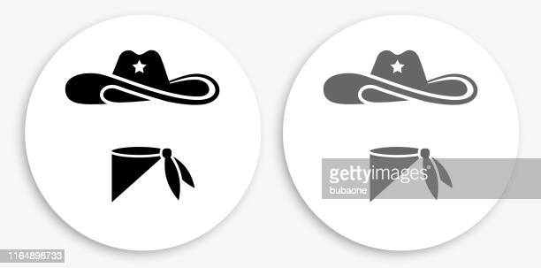 cowboy cloth black and white round icon - cowboy hat stock illustrations