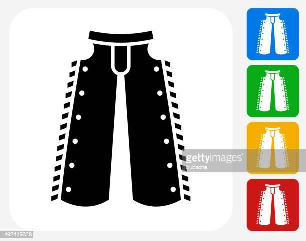 ilustraciones, imágenes clip art, dibujos animados e iconos de stock de cowboy tela de iconos planos de diseño gráfico - pantalón de cuero