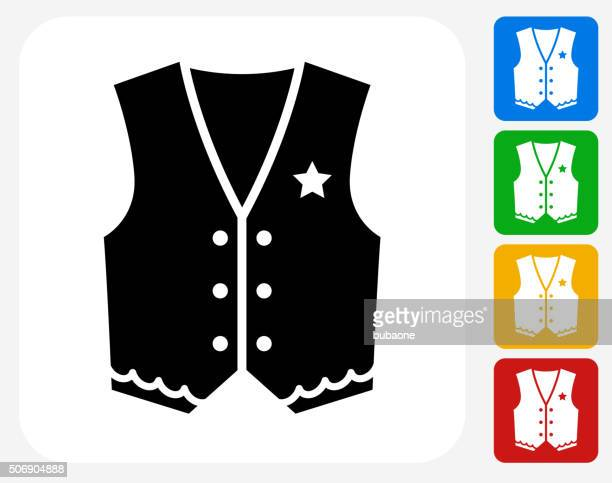 cowboy cloth icon flat graphic design - waistcoat stock illustrations, clip art, cartoons, & icons