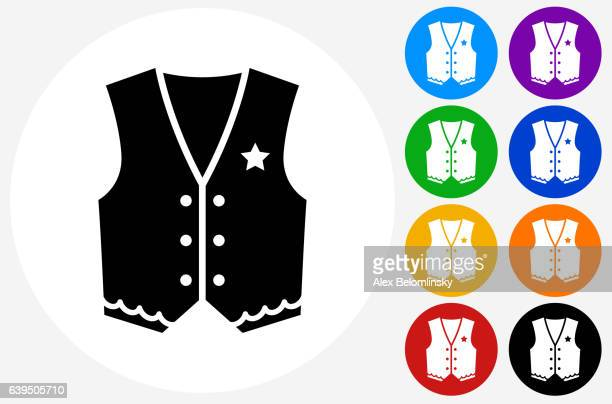 cowboy cloth icon on flat color circle buttons - waistcoat stock illustrations, clip art, cartoons, & icons