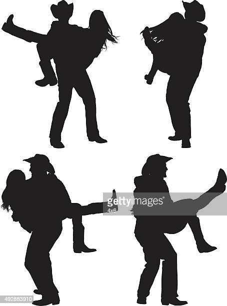 ilustraciones, imágenes clip art, dibujos animados e iconos de stock de cowboy país baile - pareja bailando cuerpo entero