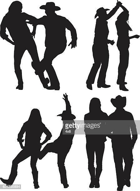 ilustraciones, imágenes clip art, dibujos animados e iconos de stock de cowboy pareja de baile país - pareja bailando cuerpo entero
