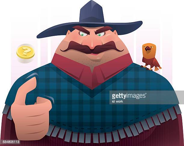 cowboy flipping coin - flipping a coin stock illustrations, clip art, cartoons, & icons