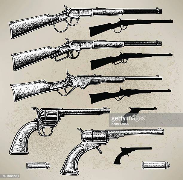 cowboy guns - handgun stock illustrations