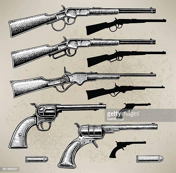 ilustrações de stock, clip art, desenhos animados e ícones de cowboy armas - armadefogo