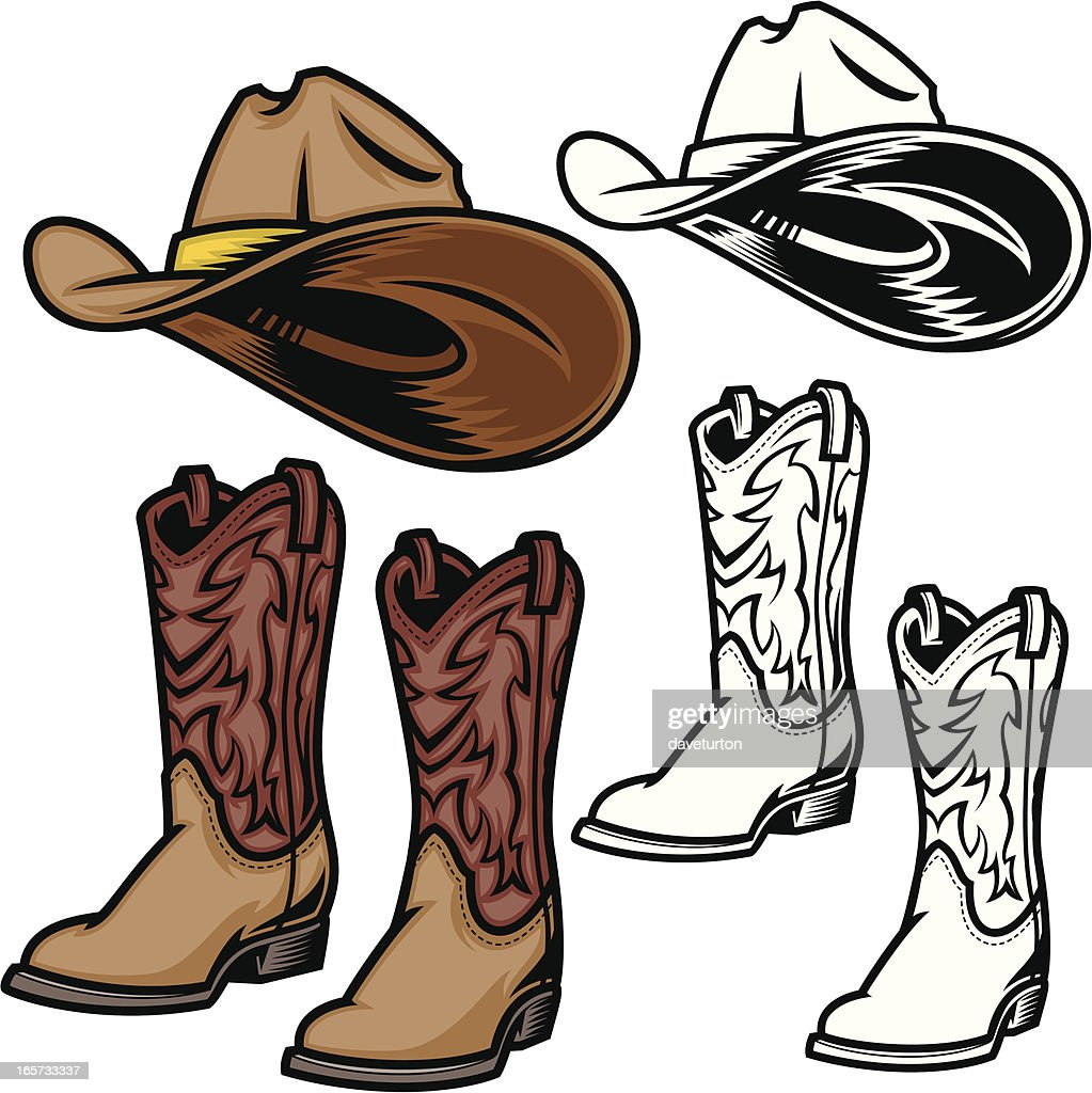 Cowboy Hat and Boots : Stock Illustration