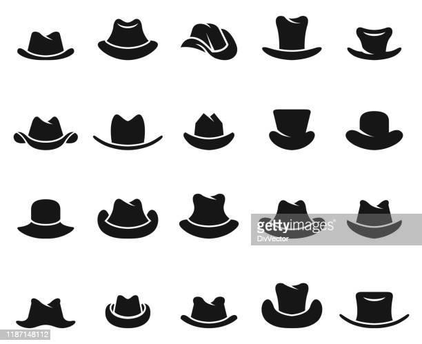 cowboy hat vector set - cowboy hat stock illustrations