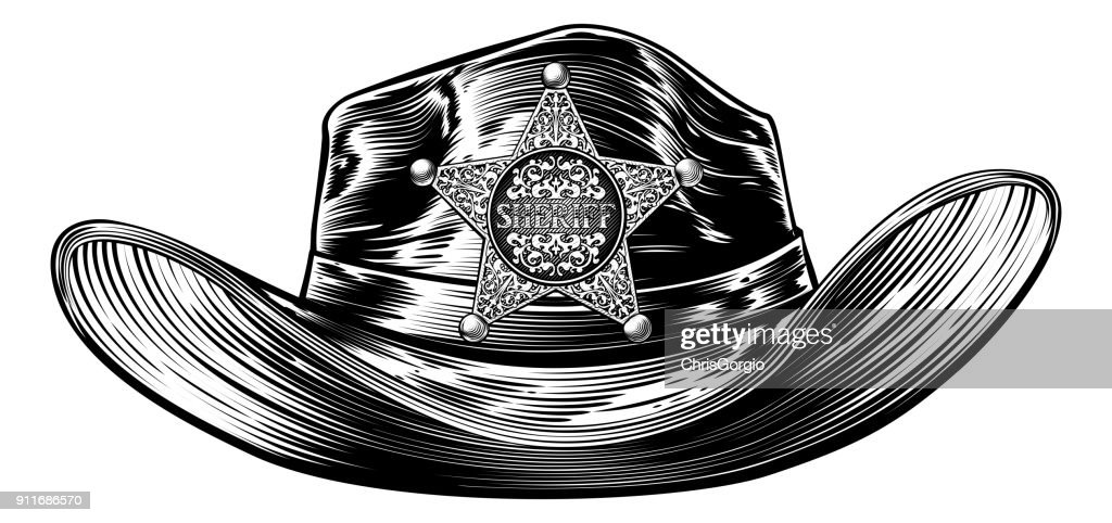 Cowboy Hat with Sheriff Star Badge