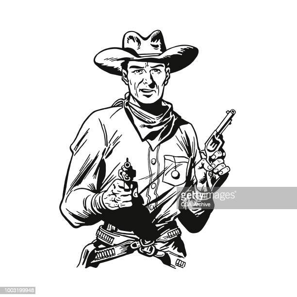 cowboy holding revolvers - wild west stock illustrations