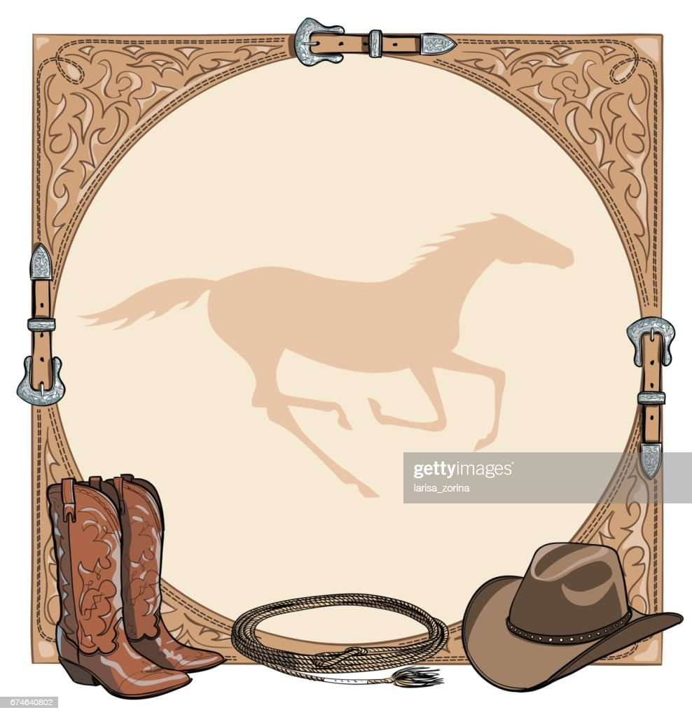 Cowboy Horse Equine Riding Tack Tool In The Western Leather Belt ...