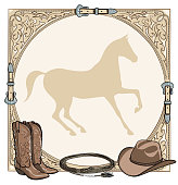 Cowboy horse equine riding tack tool in the western leather belt frame.