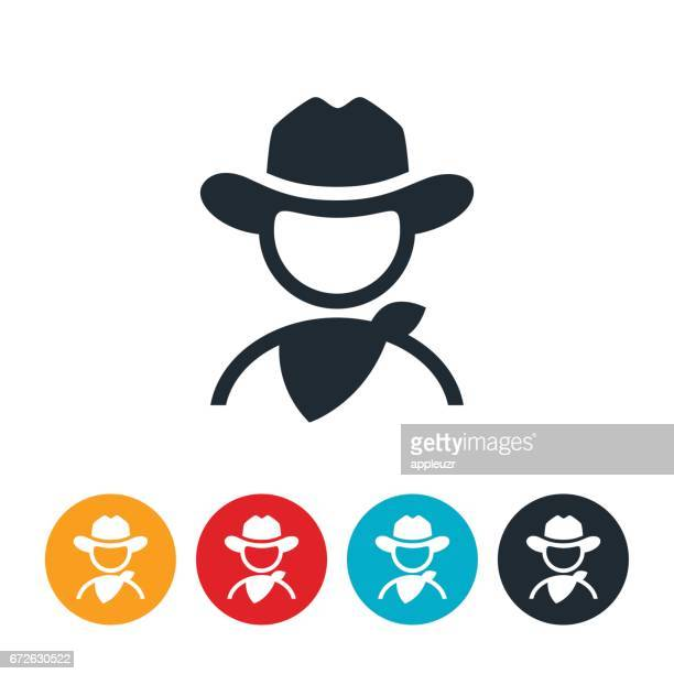 cowboy icon - cowboy hat stock illustrations, clip art, cartoons, & icons