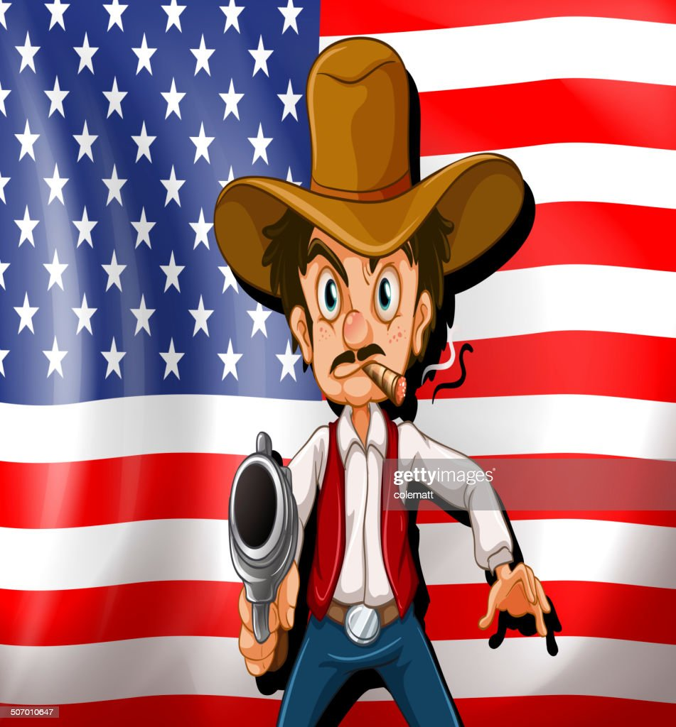 Cowboy in front of the USA flag
