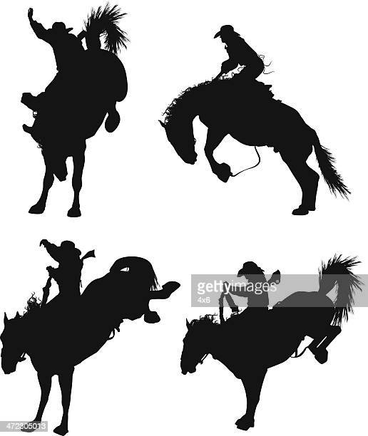 ilustrações de stock, clip art, desenhos animados e ícones de cowboy de rodeio - rodeio
