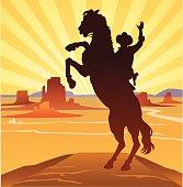 Cowboy in Wild West Landscape