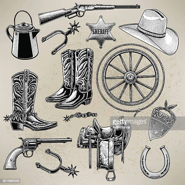 cowboy items - handgun stock illustrations