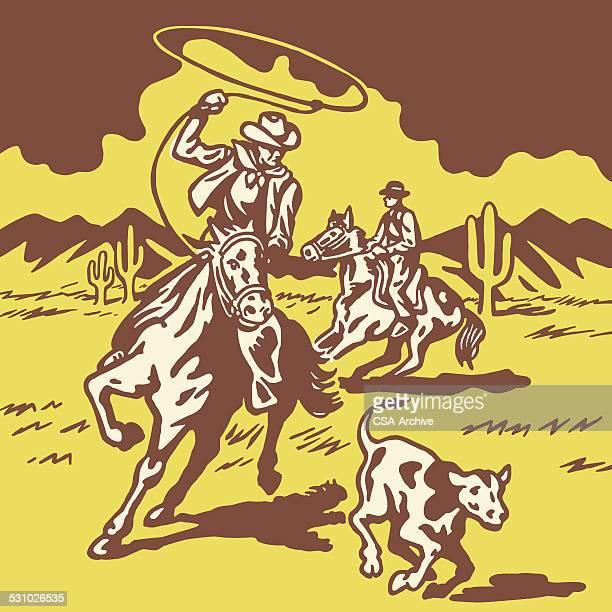 cowboy lassoing calf - horseback riding stock illustrations, clip art, cartoons, & icons