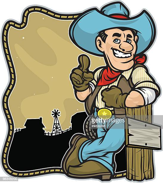 cowboy leaning on a post with barn background. - waistcoat stock illustrations, clip art, cartoons, & icons