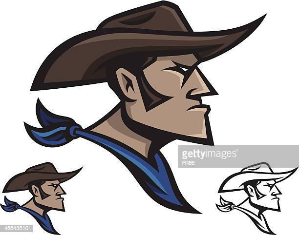 cowboy mascot - cowboy hat stock illustrations, clip art, cartoons, & icons