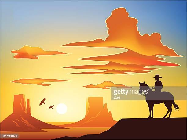 illustrazioni stock, clip art, cartoni animati e icone di tendenza di cowboy su cavallo sulla monument valley - altopiano