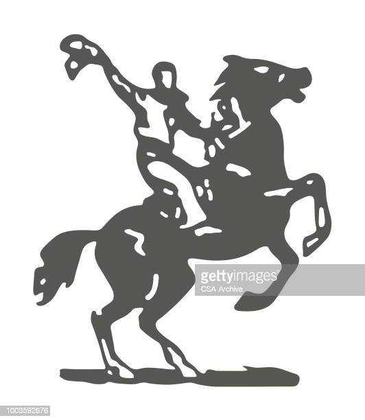 ilustrações de stock, clip art, desenhos animados e ícones de cowboy on horse - rodeio