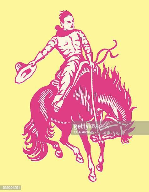 ilustrações de stock, clip art, desenhos animados e ícones de cowboy no cavalo - rodeio