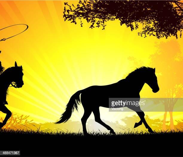cowboy on sunset - enclosure stock illustrations