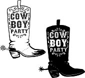 Cowboy party. Hand drawn Cowboy boots illustration. Design element for poster, flyer. Vector illustration