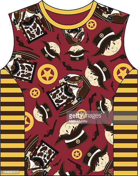 cowboy patterned kids vest - sleeveless stock illustrations, clip art, cartoons, & icons