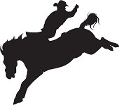 Cowboy riding a bucking bronco silhouette