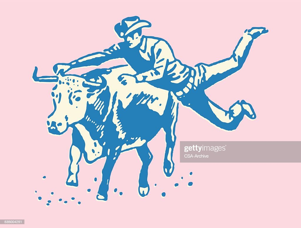 Cowboy Riding a Bull : stock illustration