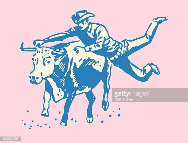 ilustraciones, imágenes clip art, dibujos animados e iconos de stock de vaquero montando un bull - toreo