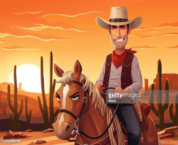 夕暮れ時に馬に乗るカウボーイ - ウエスタン映画点のイラスト素材/クリップアート素材/マンガ素材/アイコン素材