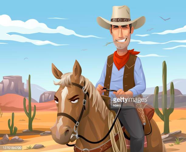 砂漠で馬に乗るカウボーイ - ウエスタン映画点のイラスト素材/クリップアート素材/マンガ素材/アイコン素材
