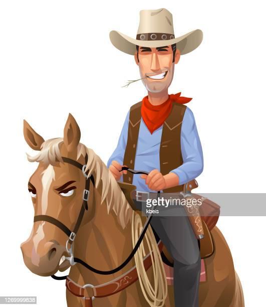 馬に乗るカウボーイ - ウエスタン映画点のイラスト素材/クリップアート素材/マンガ素材/アイコン素材