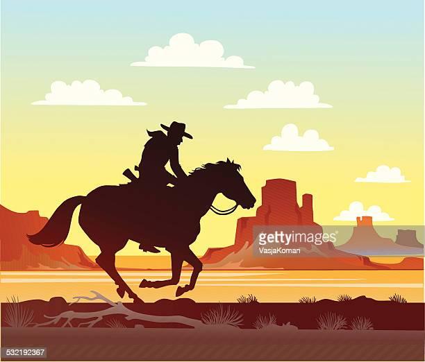 cowboy riding his horse - horseback riding stock illustrations, clip art, cartoons, & icons