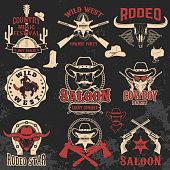 Cowboy rodeo, wild west labels.
