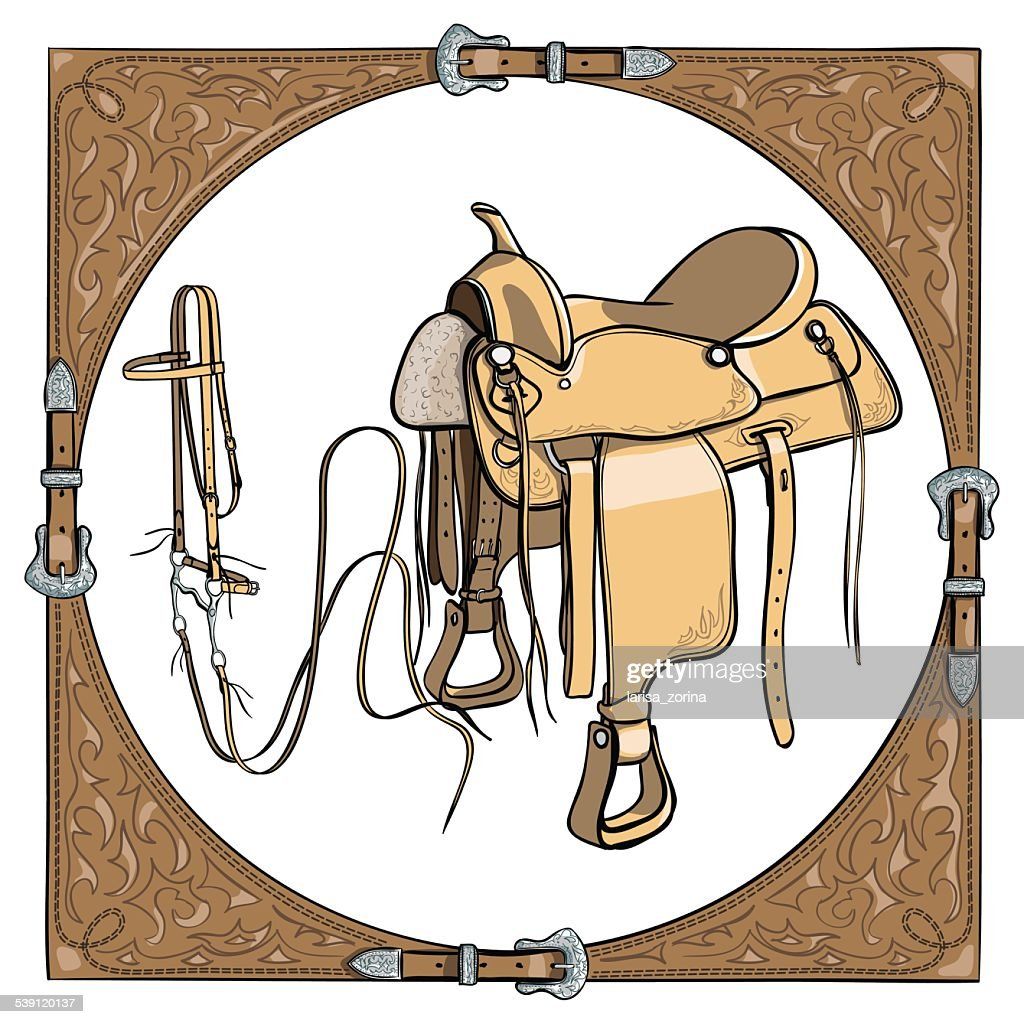 Cowboy saddle and bridle in the western leather frame