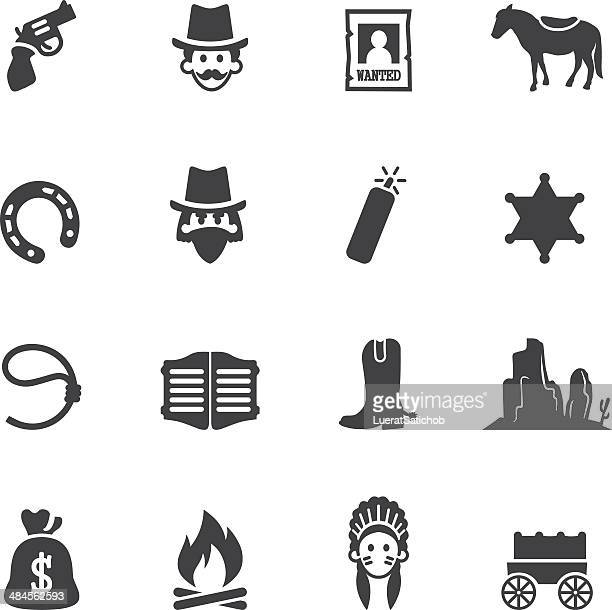 cowboy silhouette icons - rod stock illustrations, clip art, cartoons, & icons