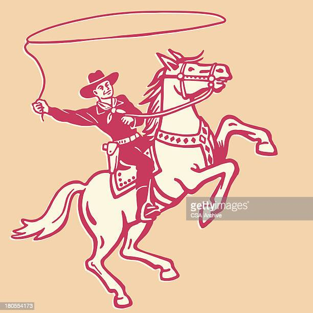 cowboy throwing lasso on a horse - ranch stock illustrations