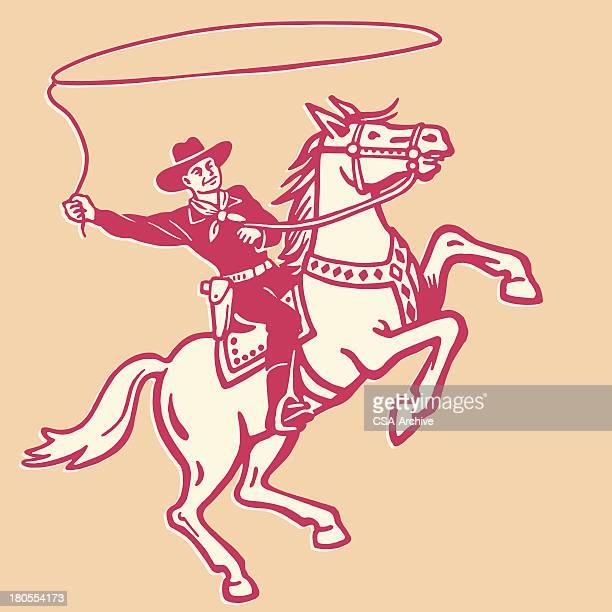 stockillustraties, clipart, cartoons en iconen met cowboy throwing lasso on a horse - cowboy