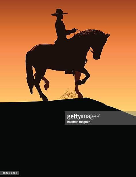 cowboy - horseback riding stock illustrations, clip art, cartoons, & icons