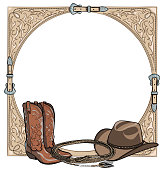 Cowboy western horse equine riding tack tool in the western leather belt frame.