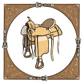 Cowboy western saddle in the leather frame background.